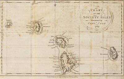 1769 Chart of the Society Isles Discovered by Capt. Cook Map