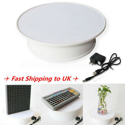 Round White Top Electric Motorized 360° Rotating Shop Display Stand Turntable