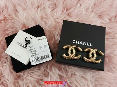 2019 CHANEL A96517 Coco CC Logo Large Gold Earrings