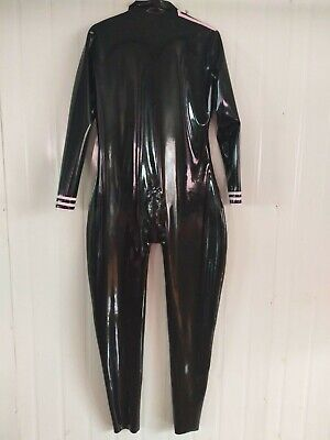 100% Latex Rubber Gummi Ganzanzug Catsuit Hooded Wetlook Tigth Black 0.4mm S-XXL