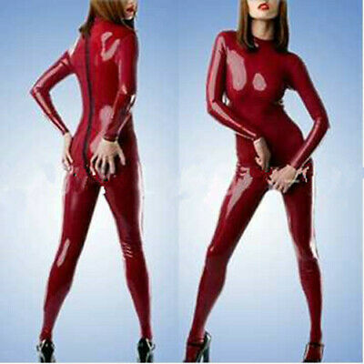 Latex 100% Rubber Gummi Ganzanzug Red Back Zipper Catsuit Sexy Unisex  S-XXL