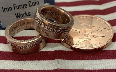 1oz Vietnam Veterans .999 Copper Coin Ring 1965-1975