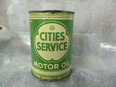 Early Original Cities Service Motor Oil Quart Metal Can Full N.O.S.