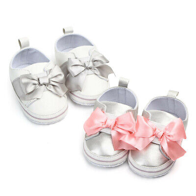 Baby Girls Newborn Infant Bow Casual Toddler Anti-Slip Flat Crib Shoes Trainer