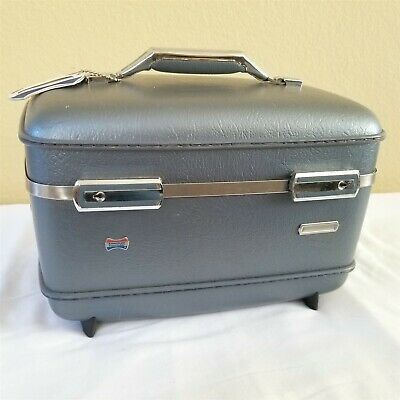 American Tourister Train Case Luggage Cosmetic Vanity Carry On Blue NO KEY