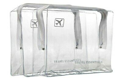2 X TRAVEL ZIP Bags CLEAR AIRPORT TRANSPARENT LIQUID TOILETRIES CABIN HOLIDAY