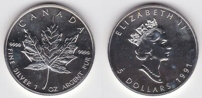5 Dollar Silber Münze Canada Kanada Maple Leaf 1991 (122536)