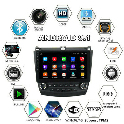 Quad-Core 10.1'' Android 9.1 Car Stereo Radio GPS Nav For Honda Accord 2003-2007