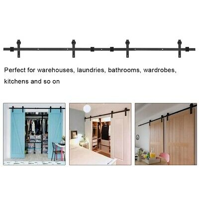 Single/Double Door Barn Sliding Wood Track Kit Hanging Rail Pulley Set Hardware