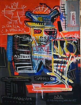 Vintage Abstract Painting Signed Jean-Michel Basquiat, Modern Art