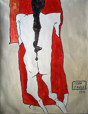 Vintage Abstract Painting Signed Egon Schiele, Modern Old 20th Century Art