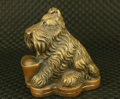 Chinese old bronze hand casting schnauzer dog statue noble table decoration