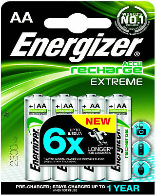 8 x ENERGIZER 2300mAh ACCU RECHARGE EXTREME AA RECHARGEABLE BATTERIES HR6 NiMH