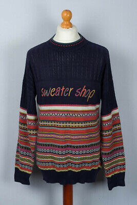 """A True Vintage """" Sweater shop """" colourful jumper. UK Large. Navy Cables. Casual."""
