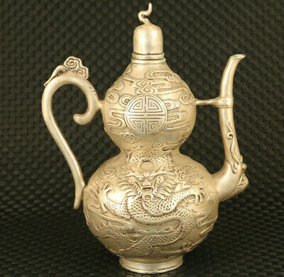 chinese old copper plating silver casting dragon tea pot
