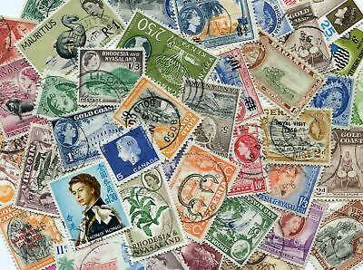 100 Different QE2 British Commonwealth Stamps Pre-1970 only