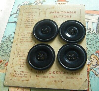 English  Card of 34mm Art Deco Celluloid buttons SEWING CRAFT *FREE POST*