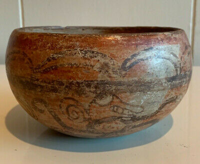 Ancient pre columbian Mayan pottery bowl maya polychrome