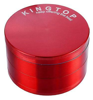 4 Piece Kingtop Herb Spice Grinder Tobacco 3 Inch Large Magnetic Lids Red