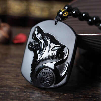 Black Obsidian Carving Yin Yang Wolf Dragon Phoenix Necklace Mens Lucky Pendant