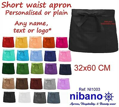 Nibano embroidered or plain short waist apron waiter serving cleaning beautyshop