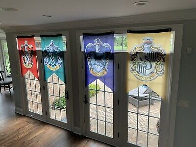 """Harry Potter Hogwarts House Wall Banners Set of 4 Flags 50"""" x 30"""" All Houses"""