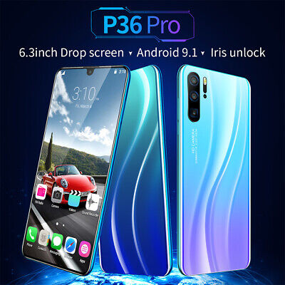 6.3 inch Android OS 9.1 Dual SIM 10 Core P36 Pro Smart Phone Water Drop Screen