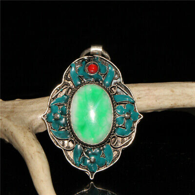 """2.56""""Exquisite Chinese pure copper Cloisonne Handmade inlay Emerald Pendant"""