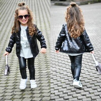 Kid Sequin Jacket Girls Glitter Coat Zipper Outerwear Children Toddler Clothes