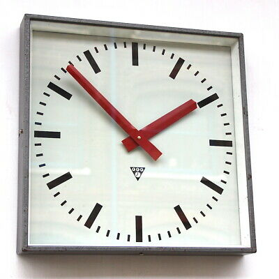 LARGE CZECH 1970s  Midcentury Vintage Retro Industrial Factory Wall Clock