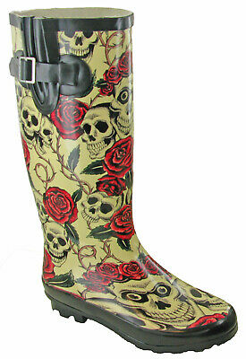 Womens Fashion Rain Wellies Skull & Roses Print Rubber Wellingtons Casual Boots