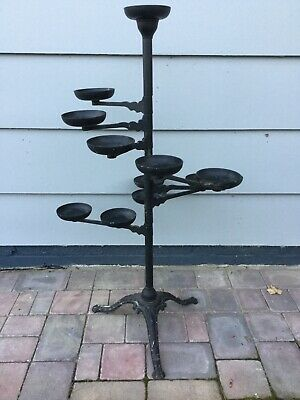 Antique Victorian Black Cast Iron Plant Stand Vintage Flower Pot Display Holder