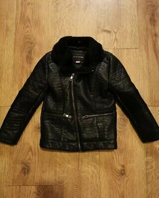 girls RIVER ISLAND coat / jacket fur lined faux leather age 6