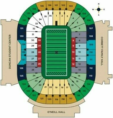 2 Tickets Football for Notre Dame v. USC Trojans 10/12/19. Jumbatron view