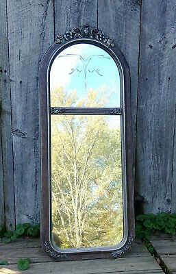 Vintage Etched Arched Top Art Deco Polychrome Floral 2 Panel Wall Hall Mirror