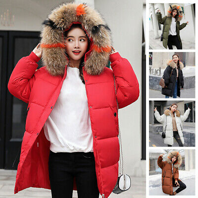 Winter Womens Parka Fur Collar Hooded Coat Loose Casual Snow Quilted Jacket