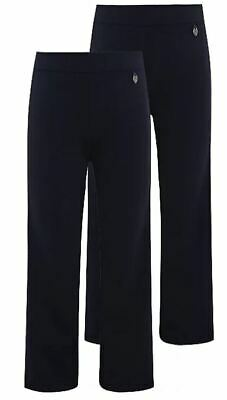 NEW GIRLS EX STORE NAVY BLUE PULL ON STRAIGHT LEG SCHOOL TROUSERS Age 4-11 GNT6