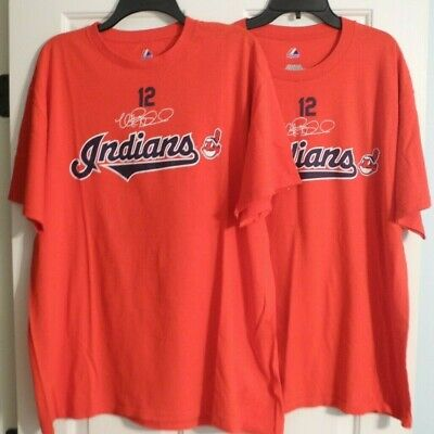 (2) Mark Reynolds #12 Majestic Chief Wahoo Logo Name/Number Red T-Shirt Size Xl