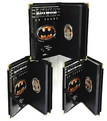 1989 Batman 50th Anniversary .999 Silver 1 Ounce Coin Set of 3 in Display Boxes