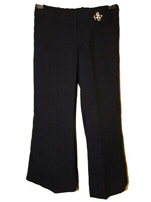 NEW GIRLS EX STORE NAVY BLUE PULL ON ADJUSTABLE SCHOOL TROUSERS Age 4-11 GNT5