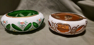 Lot of 2 Czech Bohemian Ashtrays Cased Overlay Hand Painted Gold Trim