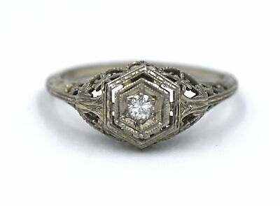 Antique Art Deco Diamond Engagement Ring Geometric Filigree 18K Gold Size 6.75