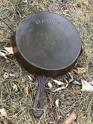Vintage National Star #8 cast iron skillet Heat Ring ( wagner) Double pour spout