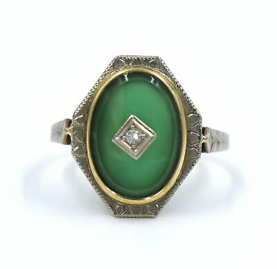 Antique Art Deco Chrysoprase Diamond Ring Geometric Two Tone 10K Gold Size 7