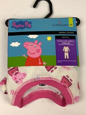 Cuddl Duds Peppa Pig Thermal Warm Layers Long Sleeve Crew Pants 4T NWT