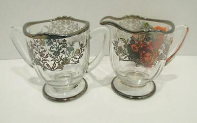 Vintage Sterling Silver Overlay Crystal Glass Cream Jug & Sugar Bowl