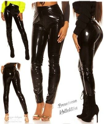 NEU 38 M ✰ Coole Glanz Lack-Lederlook Stretch Hose Röhre Glossy Wetlook Schwarz