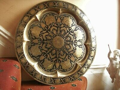 Old Antique Brass  Hand Decorated Enamel Wall Tray Plaque Big Moghul Indian Fine