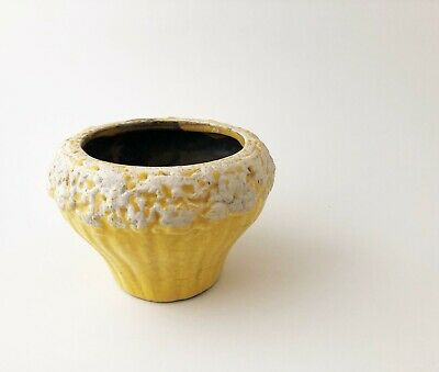 Vintage Mid Century Modern Ceramic Stoneware Yellow Textured Planter Pot