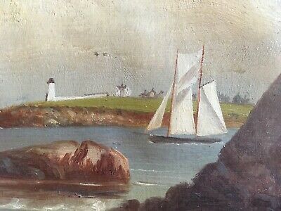 old PAINTING oil on canvas COAST unsigned antique naive Lake lighthouse boats
